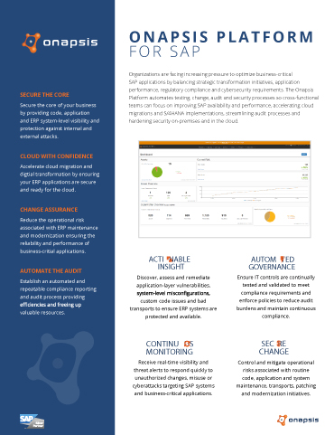 Onapsis Platform for SAP