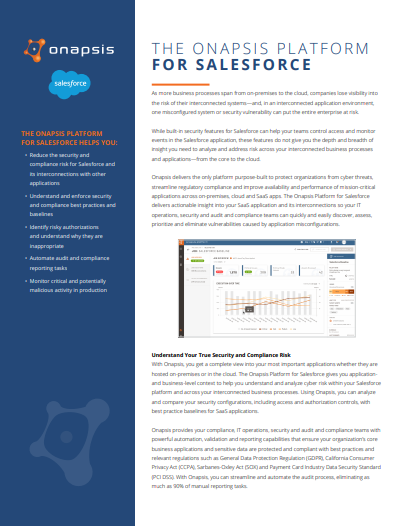 The Onapsis Platform for Salesforce