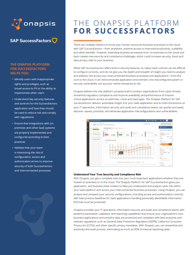 The Onapsis Platform for SuccessFactors